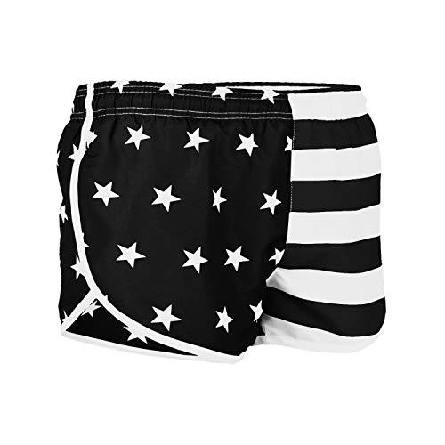 VBRANDED Men's American Flag Side Split Running Shorts Small Black/White