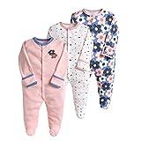 Pijama para bebé, pelele, paquete de 3, unisex, de algodón, 3 a 12 meses morado morado Talla:0-3 meses