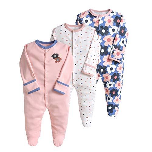 Baby Schlafstrampler 3er Pack Unisex Pyjamas Baumwolle Overalls Strampler mit 0-3 Monate