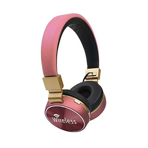 Bradoner Bluetooth For Auriculares Gaming Headset Estéreo Sin Hilos del Auricular del Micrófono De Radio FM Función Portátiles Auriculares For Teléfonos Móviles (Color : Pink)