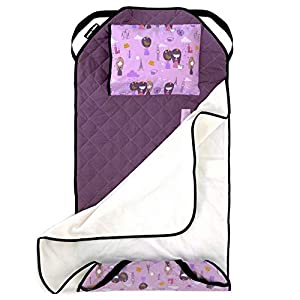 crib bedding and baby bedding urban infant tot cot all-in-one modern preschool/daycare nap mat with washable pillow and elastic straps - violet