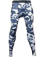 Xtextile Mens Camouflage Sports Compression Tight Leggings (XXX-Large, Black+Grey)