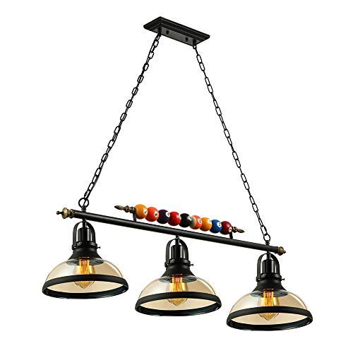 Industrial Vintage Chandelier-LITFAD 3 Lights Island Light Edison Metal Pendant Lamp Fixture with Glass Shade Special Billiard Ball Decoration in Black Finish,UL Listed