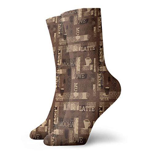 NA koffie hete mokka latte melk liefde nieuwigheid bemanning sokken atletische sokken kousen 30CM