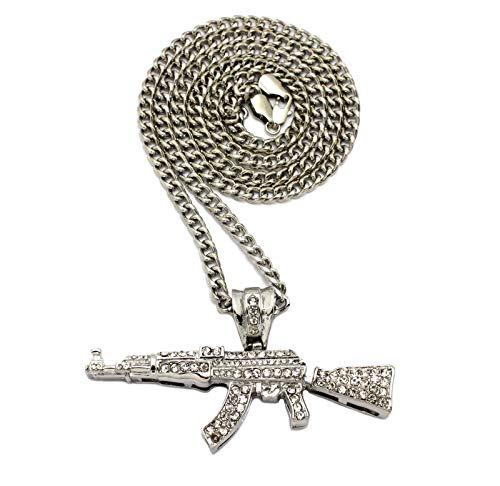 Shiny Jewelers USA Mens ICED Out Machine Gun AK47 Chopper,Uzi Weapon, Hand Gun Pendant Box, Rope, Cuban Chain 3 Necklace Set (AK47 Cuban Chain Silver)