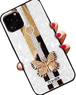 Aulzaju Case for iPhone 11,iPhone 11 6.1 Inch Phone Covers iPhone 11 Beauty Classic Glitter Shell Hybrid Cases iPhone 11 Protective Cases Butterfly Diamond Reinforced Bezel Cover for Girls Women-White