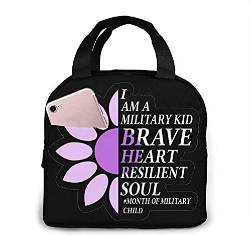 Purple Up para niños militares bolsa de almuerzo portátil aislada refrigerador reutilizable aislado refrigerador para adolescentes niños niñas escuela picnic