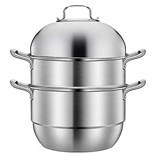 Futchoy Vaporiera in acciaio inox 201 a 3 piani cottura a vapore, pentola a vapore per cucina cucina 28/30 cm (28 cm)