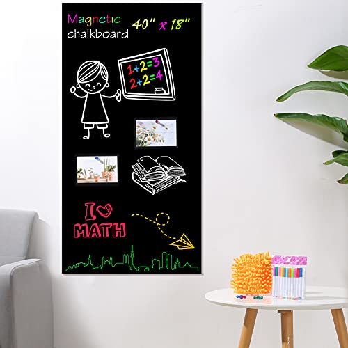 Magnetic Chalkboard Paper for Wall, 40 x 18 Self Adhesive Chalk Board...