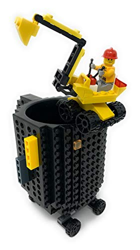 LyKenn Co. Build On Brick Mug, Includes Construction Excavator, Assembly Instructions, Worker Minifigure and Bonus Bricks all Compatible with Lego