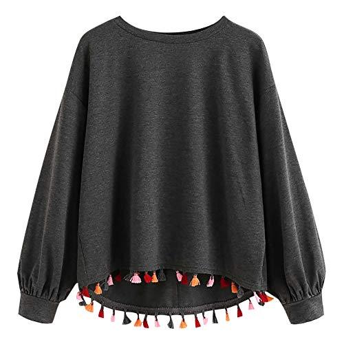 Dasongff Dames shirt met lange mouwen aan de zijkant ronde hals pullover schouder sweatshirt effen tuniek tops gebreid vest cardigan hoodie bovendeel
