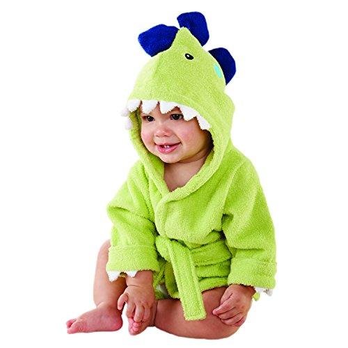 Baby Aspen, Splash-a-Saurus Dinosaur Hooded Bath and Spa Robe for Baby, Green, 0-9 Months