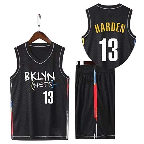 QJJ Brooklyn Nets 13# James Harden Jersey Trajes para hombre, 2021 Nueva edición de la ciudad negra de baloncesto y pantalones cortos deportivos XL