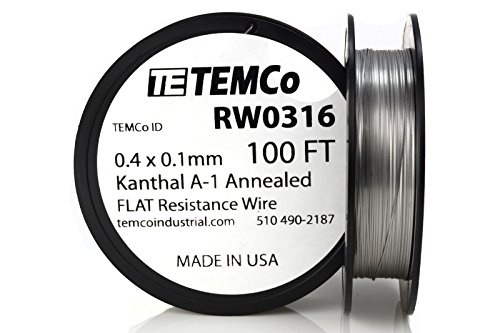 TEMCo Flat Ribbon Kanthal A1 Wire 0.4mm x 0.1mm Resistance A-1
