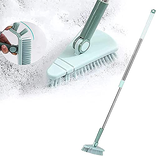 CFPAGF Scalable Rotatable Floor Scrub Brush,Long Lightweight Alloy Handle Cleaning Brush with Removable Triangle Head Extendable Pole for Home Bathroom Kitchen