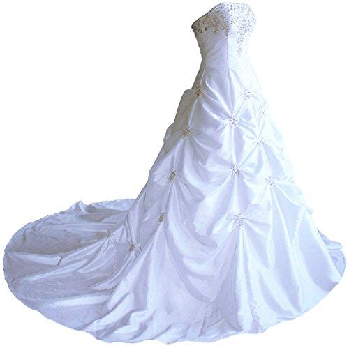 Vantexi Damen Trägerlosen TAFT Hochzeitskleid Brautkleider Weiß Größe 40