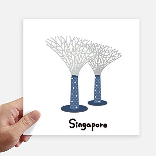 DIYthinker Singapore tuinen door de baai Square Stickers 20Cm muur koffer Laptop Motobike Decal 4 Stks