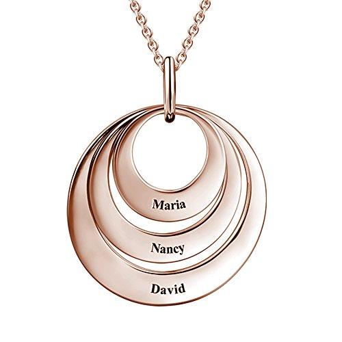 SOUFEEL Collar Plata Colgante con Nombre Personalizados Regalo para Familia Pareja Madre Cadena Más Extención