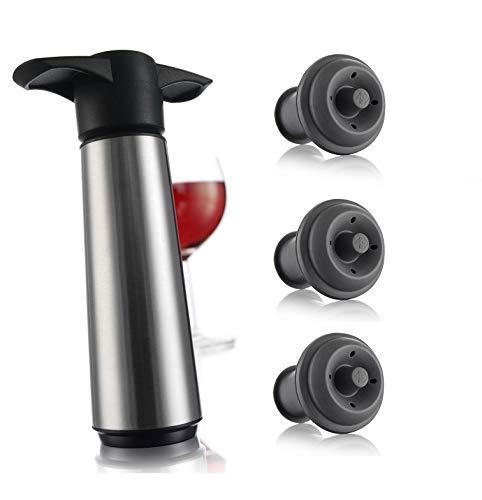 Vacu Vin Stainless Steele Wine Saver Stainless Steel Pump  3 Stoppers