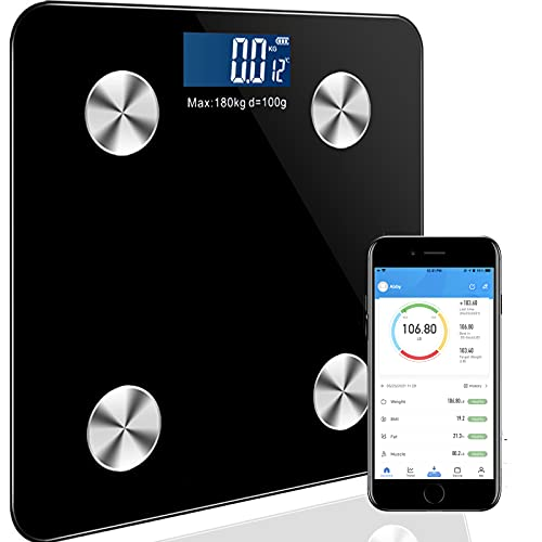 Scale for Body Weight,Bluetooth Body Fat Scale, Digital Weight Scale for Body Fat, Smart Bathroom Scales Weight ,Fat, BMI, Muscle Mass, Etc.400LB/180KG with Battery, Black