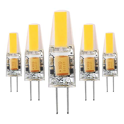 G4 6W LED Lampen Ersatz für 60W G4 Halogenlampe, 600lm 12V AC/DC, G4 Led Stiftsockellampe Leuchtmittel Nicht Dimmbar Kein Flicker, 5er-Pack,Warm White