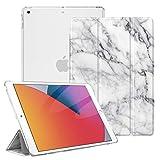 Fintie Funda para iPad 10,2' 2020/2019 - Trasera Transparente Mate Carcasa Ligera con Función de Soporte y Auto-Reposo/Activación para iPad 8/7.ª Generación, Mármol