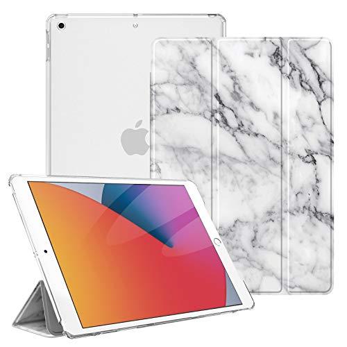 Fintie Hülle für iPad 10.2 Zoll (8. & 7 Generation, Modell 2020/2019) - Superdünn Schutzhülle mit durchsichtiger Rückseite Abdeckung Cover mit Auto Schlaf/Wach Funktion, Marmor Weiß