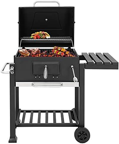 ML-DESIGN Barbecue à Charbon de Bois avec Couvercle et Étagère Latérale, 106x114x68 cm, 2 Grillles, Thermomètre, Ouvre-Bouteille, 4 Crochets à Couverts, Cendrier extensible, Chariot BBQ avec Roues