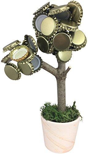 KRONLY Magnetbaum aus Ton Geschenk Trinkspiel mit 2 starken Magneten 20cm hält über 50 Kronenkorken