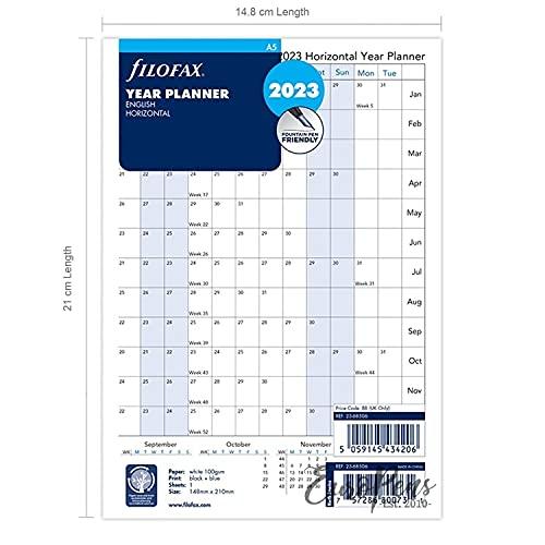 Filofax A5 Jaar Planner horizontaal 2023 23-68506