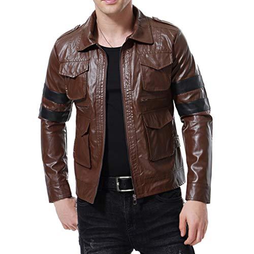 Mens Black Off-Road-Motorrad-Lederjacke Männer Brown Motorradsport Biker Coat Oberbekleidung Slim Fit Bomber Top,Brown-XL