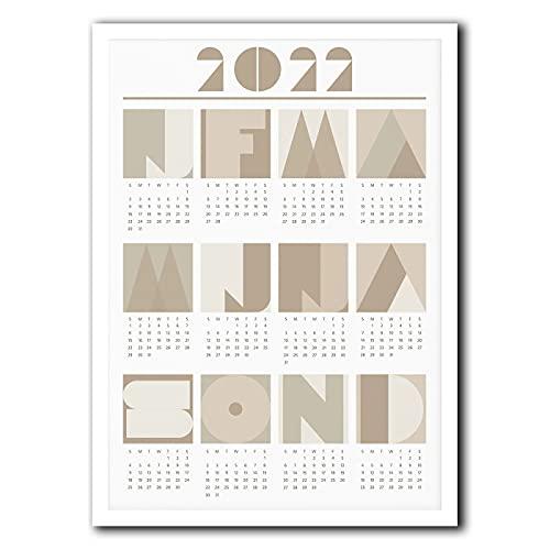 Xushiwanju 2022 Calendar Neutral Calendar Minimalist Calendar Geometric Calendar Wall Calendar Poster To-do lists (Color : Gray, Size (Inch) : 30X40CM CANVAS)