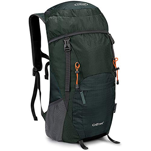 G4Free Lightweight Packable Hiking Backpack 40L Travel Camping Daypack Foldable (Grey Green)