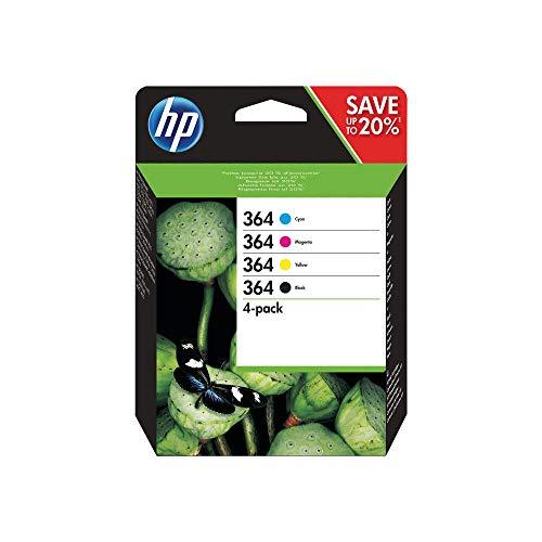 HP 364 N9J73AE - Cartucho de tinta original (4 unidades, 250/300 páginas, 4 unidades), color negro y blanco