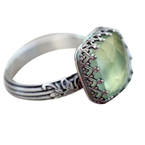 Anillo de dedo Benoon para mujer con incrustaciones de piedras preciosas rectangulares de imitación de esmeralda, anillo de dedo con incrustaciones de piedras preciosas - verde US 9