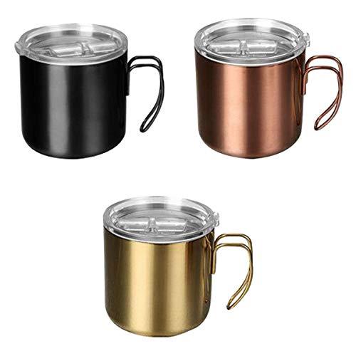 Amuzocity 3pcs Tazas de Café con Aislamiento de Doble Pared Taza de Té para Acampar Taza 400ml Negro