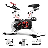 XIAOWEI Exercise Bike Indoor Fitness Bicycle Home and Gym Workout Training Professional Equipment with LED Dispaly Adjustable Comfortable Seat for Office White