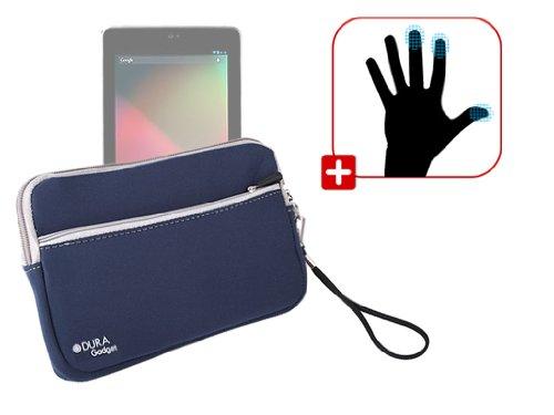 DURAGADGET Housse étui résistant en néoprène Bleu + Paire de Gants capacitifs Taille M (Moyen) pour Google Nexus 7 ASUS Tablette Android 4.1 Jellybean