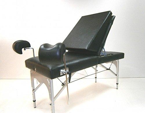 Gynstuhl, klappbar und tragbar, mobiler Gynäkologischer Stuhl höhenverstellbar, Farbe Bezug:Nr. 60. schwarz