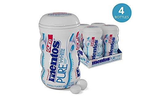 Mentos Pure White Sugar-Free Chewing Gum with Xylitol, Sweet Mint, Halloween Candy, Bulk, 50 Piece Bottle (Pack of 4)