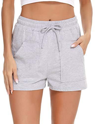 Doaraha Pantalones Cortos Mujer Verano Pantalón Casual Alta Cintura Elástica Cordón Ropa de Dormir Pantalon de Casa Deporte Shorts con Bolsillos Comodo y Suelto