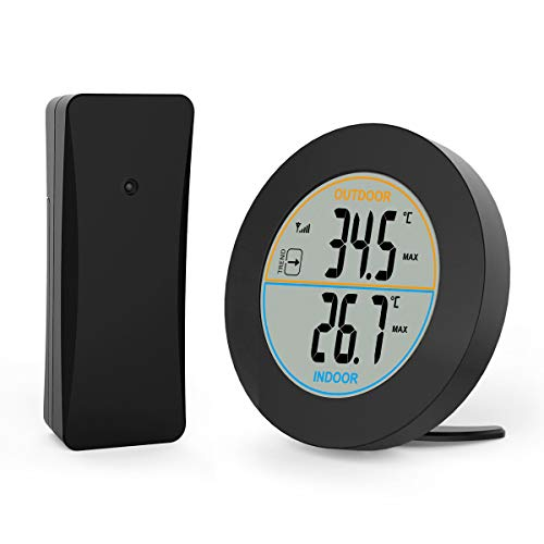 E-More Termómetro digital para interiores y exteriores, termómetro inalámbrico con pantalla LCD, monitor de temperatura con sensor remoto para exteriores, interruptor ℃ / ℉