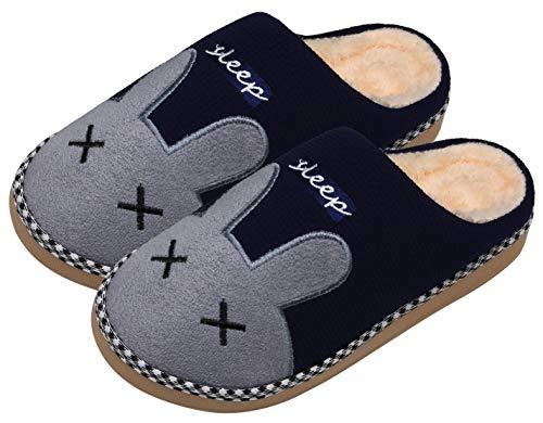 Mishansha Zapatillas de Casa de Mujer Hombre Invierno Zapatillas Calientes Casa Antideslizante CáLido Dibujos Animados Interior Pantuflas, Conejo-Azul, 39/40 EU=40/41 CN