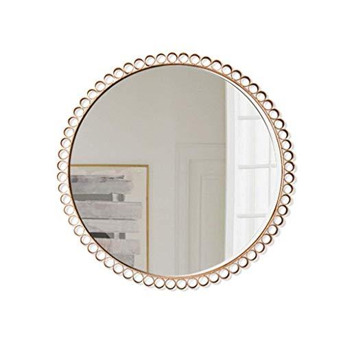 LUISONG FANMENGY Espejo de baño Espejo de metal ovalado montado en la pared espejo con decoración redondo metal montado en la pared