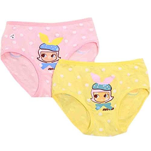 Lot de 2 Jolies Filles sous-vêtements Enfants Modales Lingerie Brief(Sweet Star)