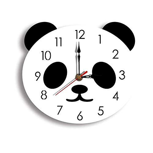 GaoLL Reloj de Pared Lindo Panda Dibujos Animados Acrílico Decoración Niños Habitación Dormitorio