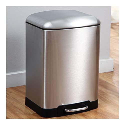 Cubo de Basura Cubo de Basura 12 litros / 3 galones con Tapa de pie a Paso silencioso Bote de Basura de Acero Inoxidable Bote de Basura for la Sala de Estar, Cocina y Dormitorio de Plata/Negro Bote
