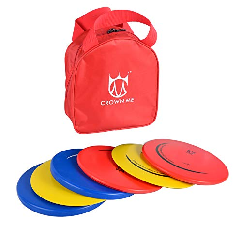 CROWN ME Disc Golf Set with 6 Discs and Starter Disc Golf Red Bag – Fairway Driver, Mid-Range, Putter Disc