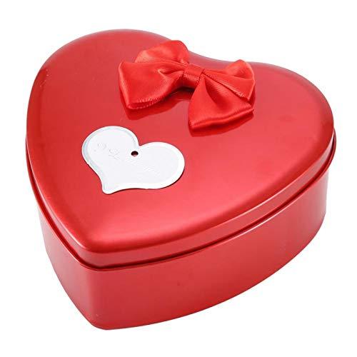 Caja de Hierro para jabón Caja en Forma de corazón Flor de simulación de Rosa para el Día de San Valentín Día de la Madre Aniversario Cumpleaños Mujeres Adolescentes Niñas(Red)