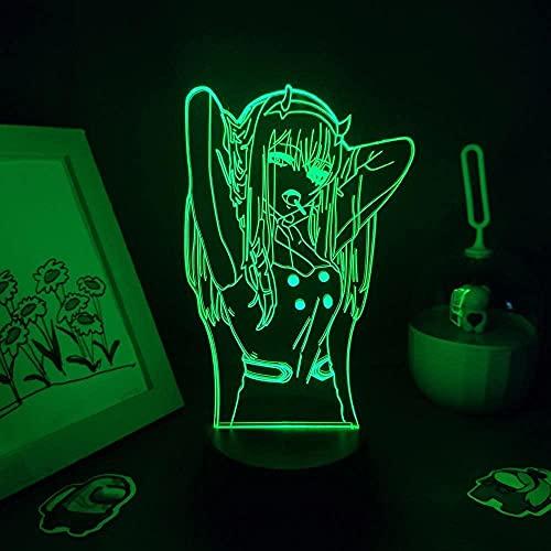 Luz nocturna 3D para niños, diseño de anime, 3D, lámpara LED RGB, bonito regalo para dormitorio, noche, manga, decoración multicolor, 16 colores que se pueden controlar a distancia.